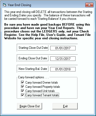 Tenant File Year End Closing